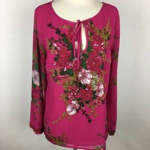 Soft Surroundings Magenta Beaded Top size Small
